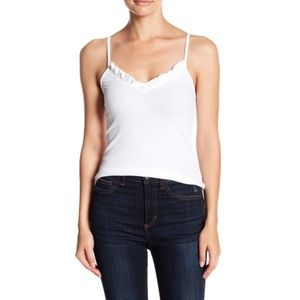 Know One Cares Ribbed Ruffle Tank Top